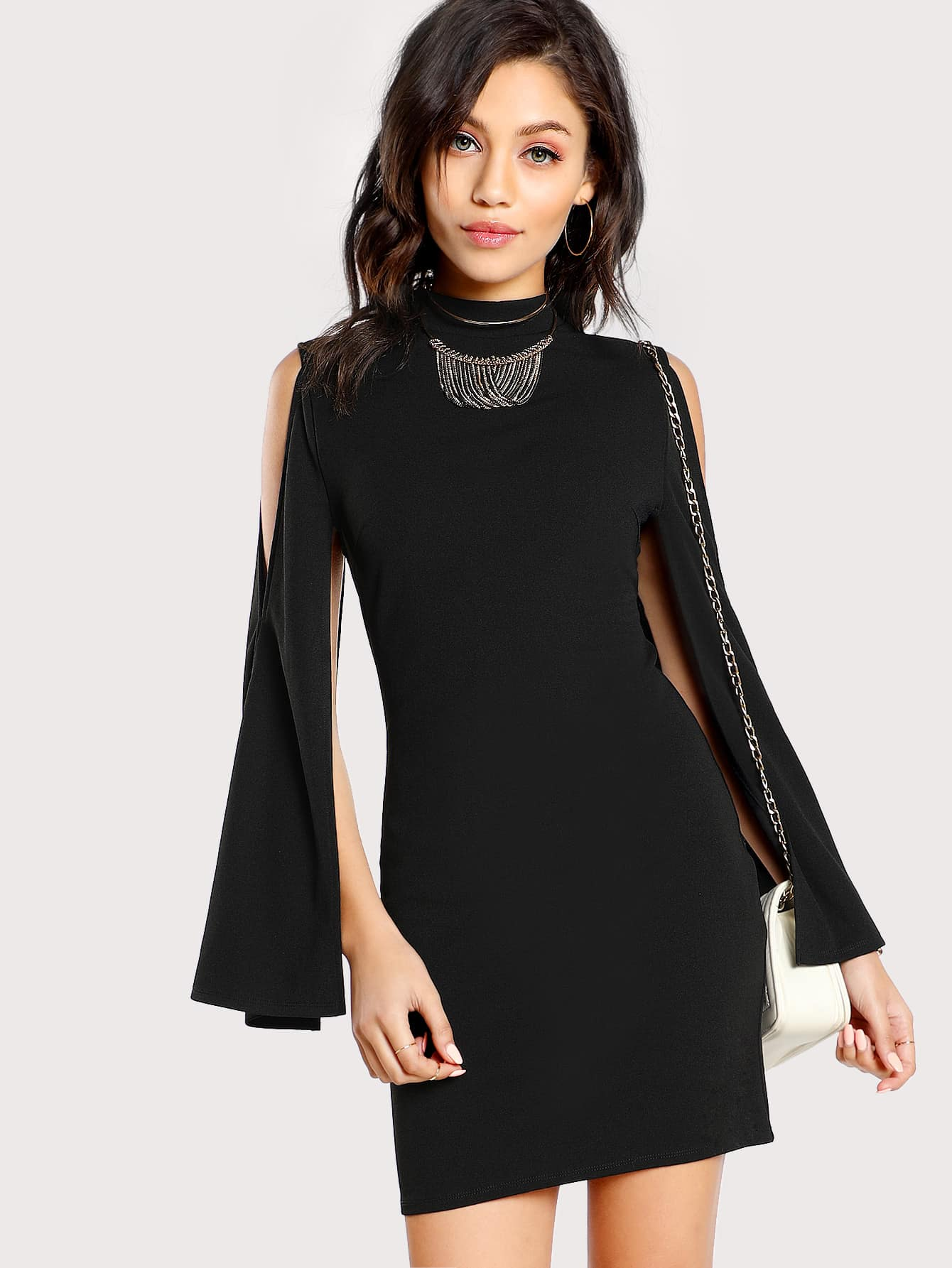 Open Shoulder Fitted Cape Dress open back fitted