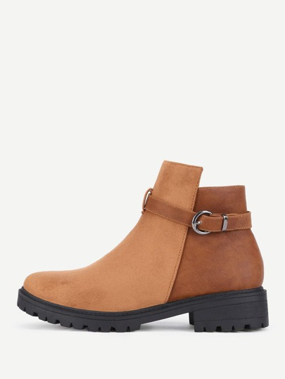 Buckle Decorated Round Toe Ankle Boots