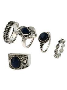 Oval Stone Ring Set 5pcs