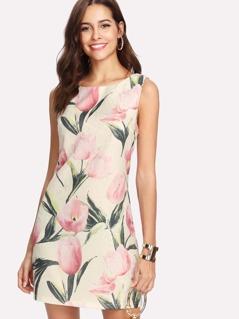 Allover Flower Print Sleeveless Dress