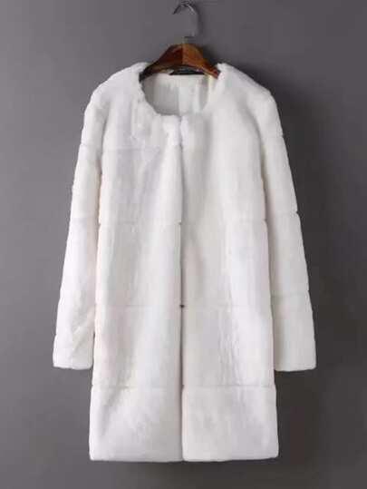 Abrigo largo de piel sintética