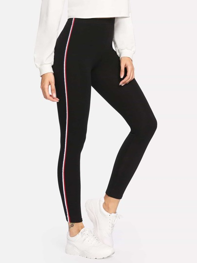 Contrast Striped Tape Leggings