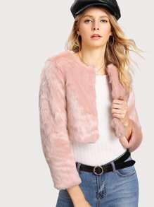 Faux Fur Crop Coat