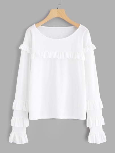 Tiered Frill Trim Tee