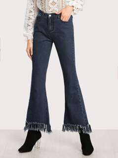 Frayed Hem Flare Jeans