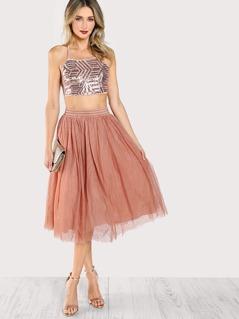 Sequined Spaghetti Strap Criss Cross Crop Top & Matching Skirt Set ROSE