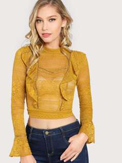 Front Ruffle Long Sleeve Lace Crop Top MUSTARD