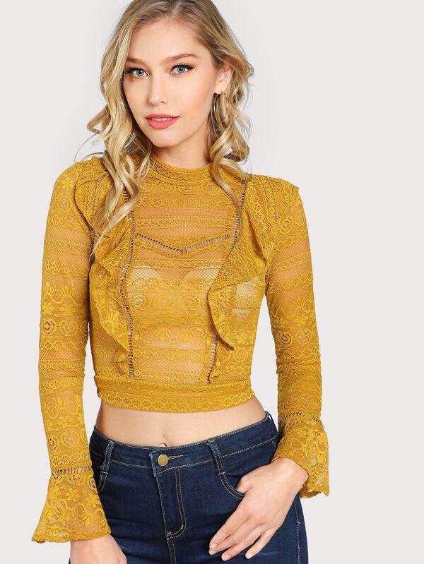 Front Ruffle Long Sleeve Lace Crop Top Mustard by Sheinside
