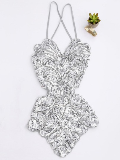 Criss Cross Back Knot Detail Sequin Bodysuit