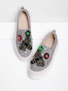 Rhinestone Flower & Bee Low Top Sneakers