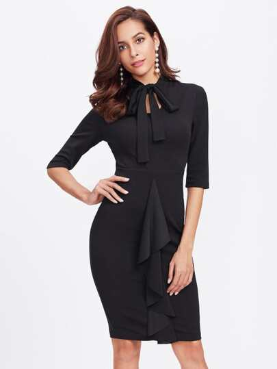 Bow Tie Neck Vented Back Form Fitting Dress
