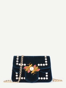 Insect Velvet Chain Bag With Jewelry