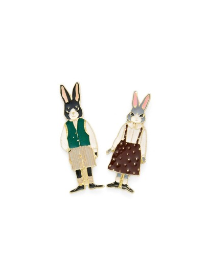 Cartoon Rabbit Design Brooch Set