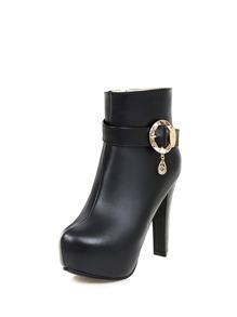 Rhinestone Detail Platform High Heel Boots