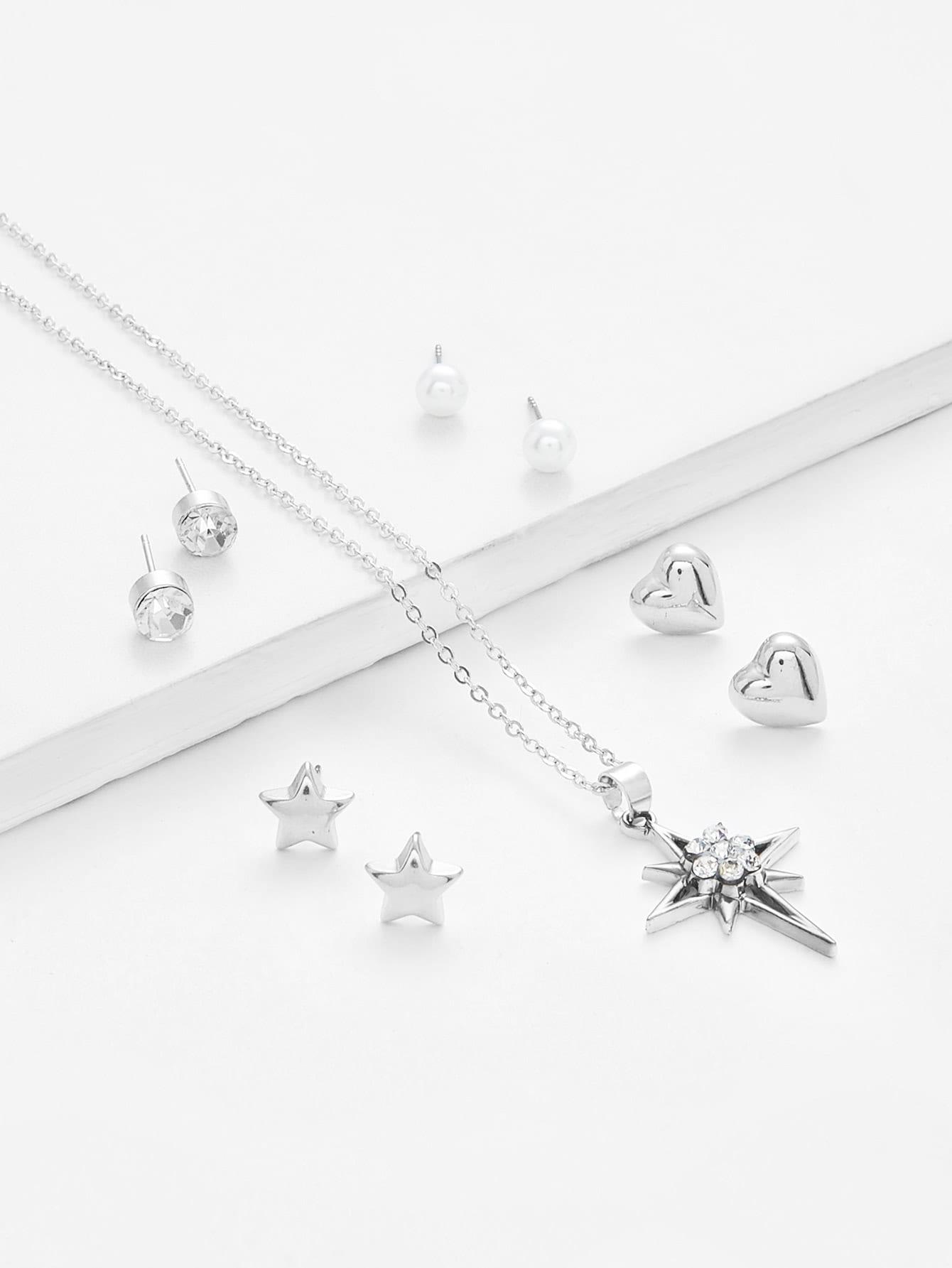 Sun God Pendant Necklace & Stud Earring Set er 3789 stylish retro jewelled pendant earring navy blue 2 pcs