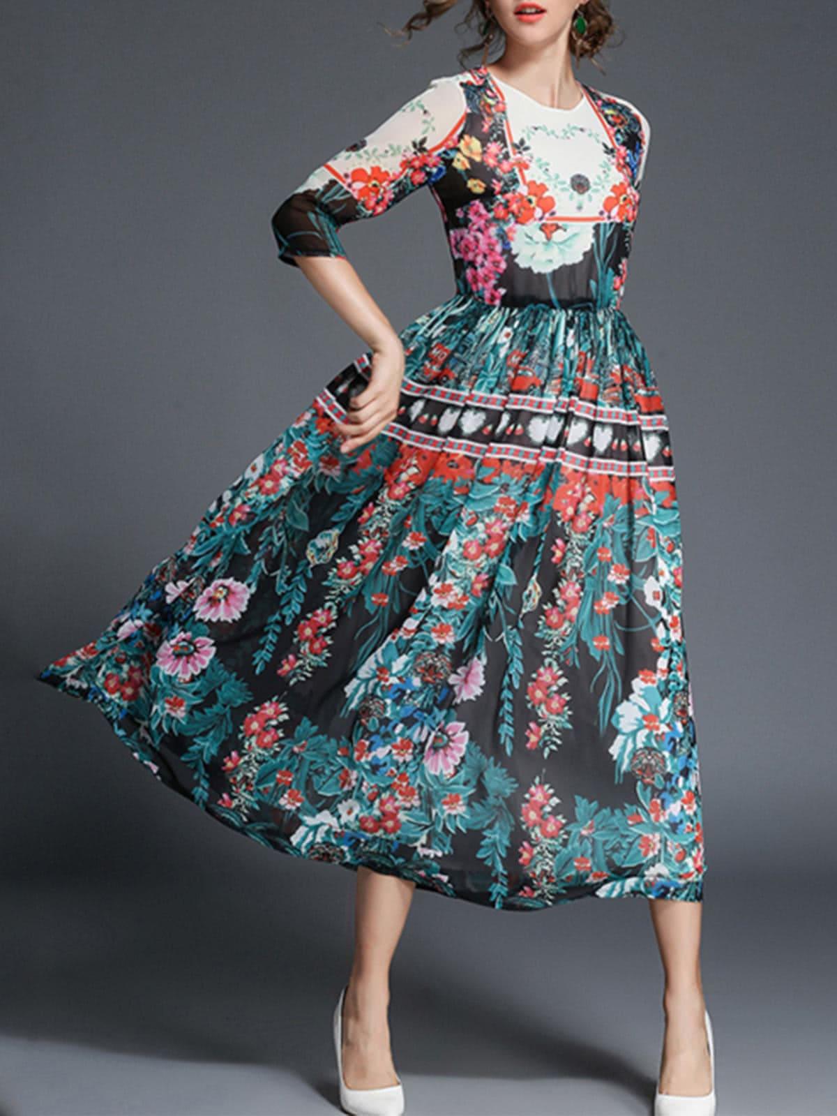 Botanical Print Dress
