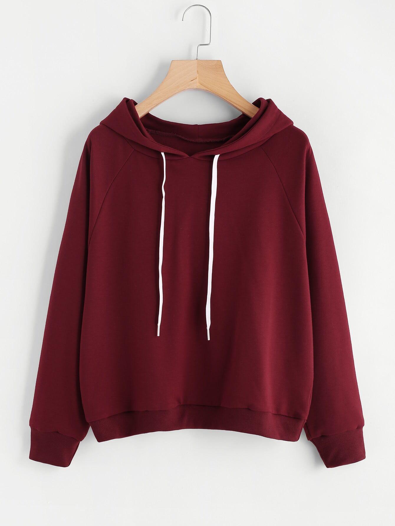 Drawstring Hooded Basic Sweatshirt alien print drop shoulder hooded drawstring sweatshirt