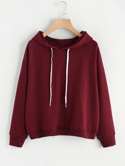 Drawstring Hooded Basic Sweatshirt