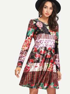 Mixed Print Swing Velvet Dress