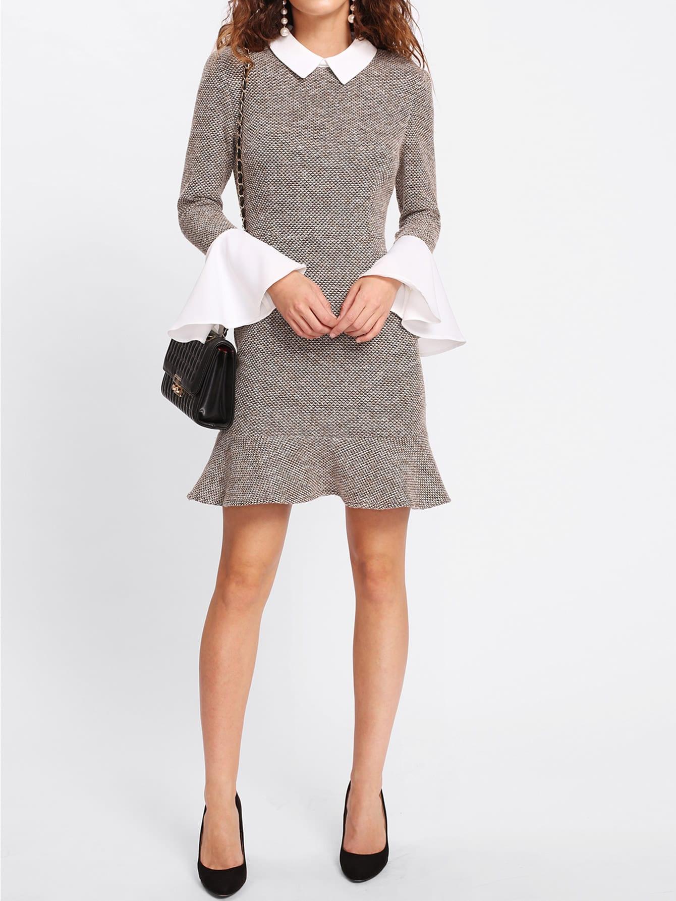 Contrast Collar And Ruffle Cuff Tweed Dress lace collar and cuff tunic dress
