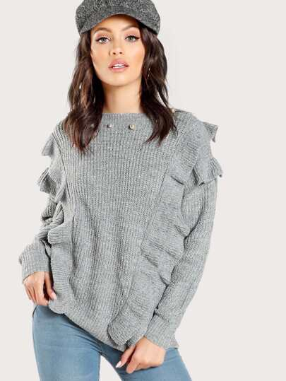 Faux Pearl Layered Frill Sweater