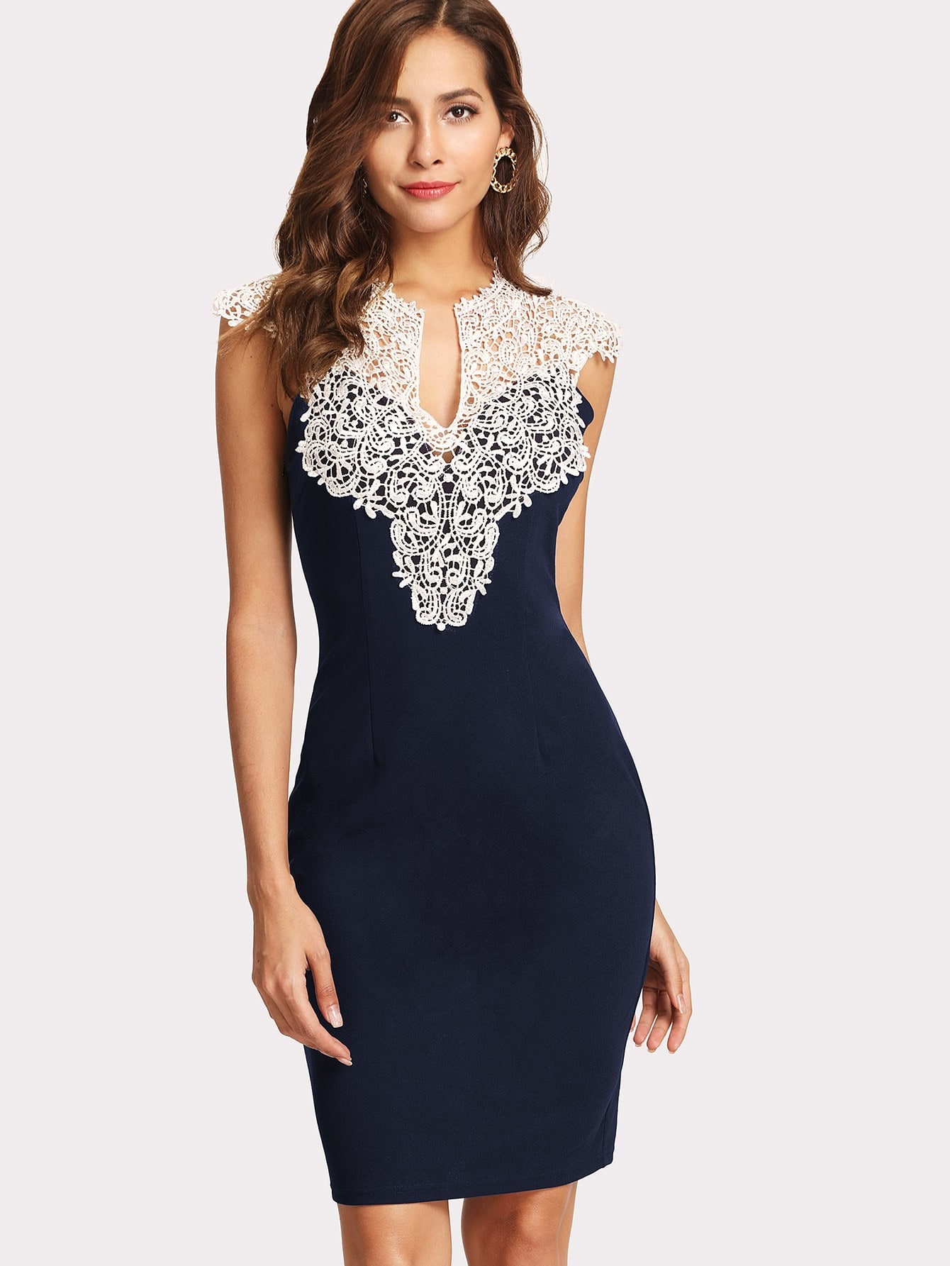 Floral Lace Yoke Form Fitting Dress guipure lace form fitting dress