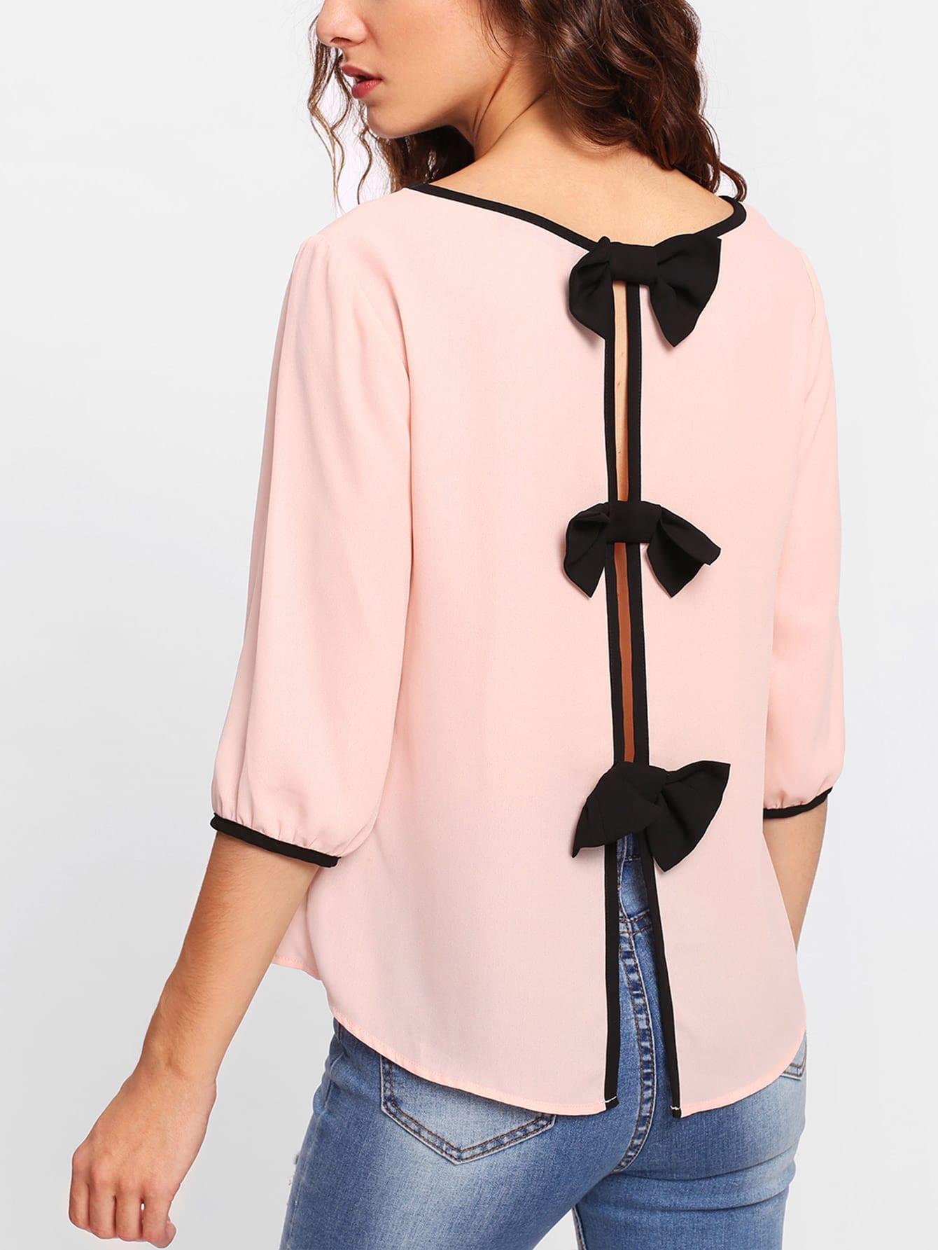 Contrast Binding Bow Detail Split Back Top lisa corti сандалии