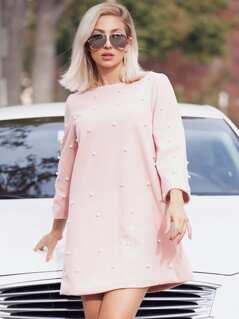Pearl Embellished Tunic Dress