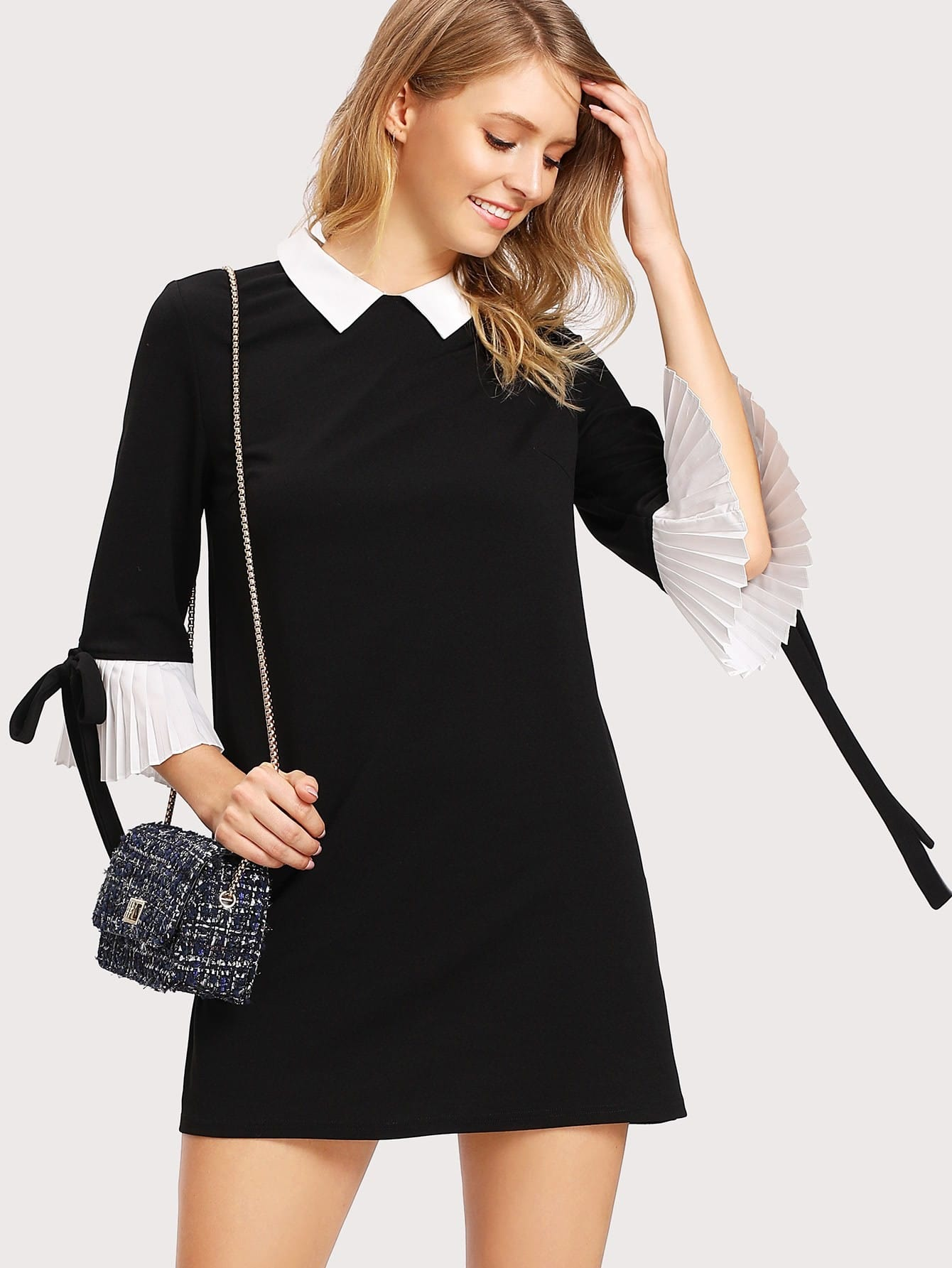 Contrast Collar And Pleated Cuff Dress contrast collar lace applique pleated pinstripe dress