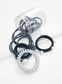 Knot & Faux Pearl Hair Tie Set 10pcs