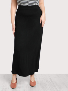 Solid Knit Column Skirt