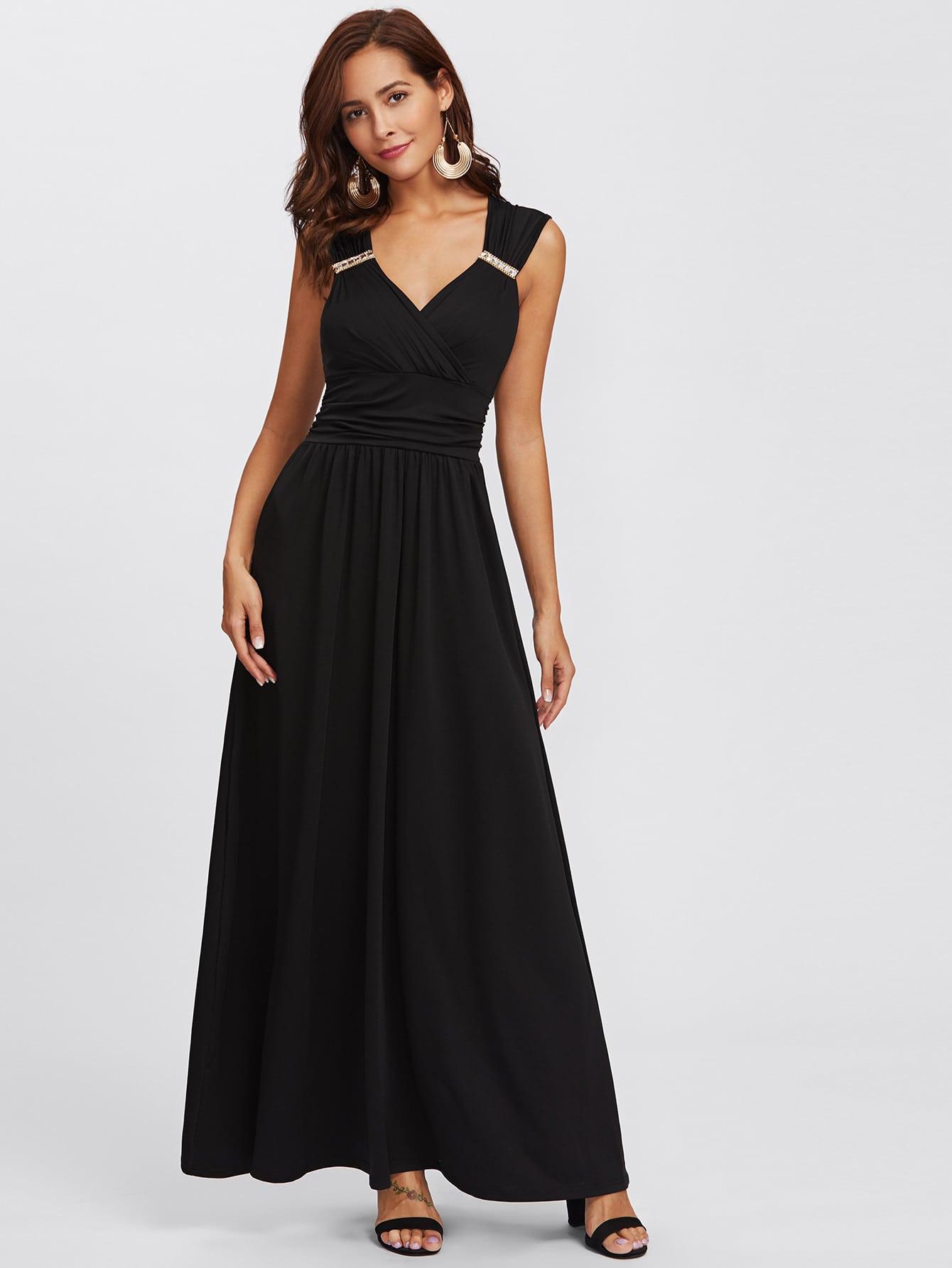 Rhinestone Detail Open Back Dress dress171124464