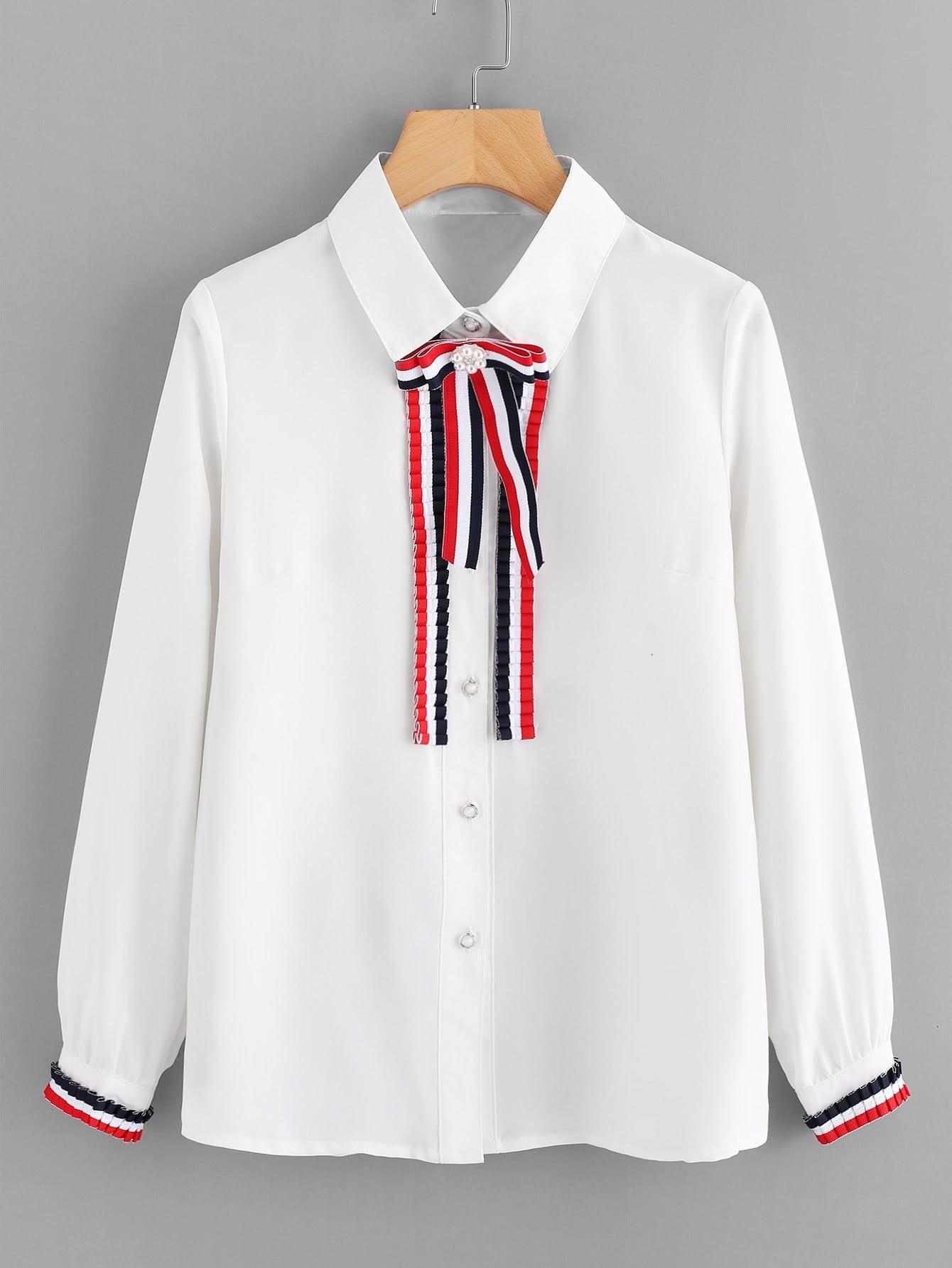 Stripe Tape Detail Frill Trim Shirt frill sleeve tape detail sweatshirt