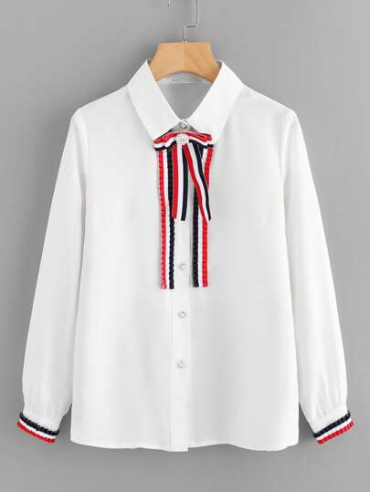Stripe Tape Detail Frill Trim Shirt