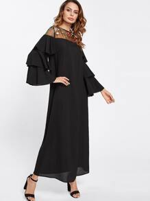 Embroidered Mesh Shoulder Layered Bell Sleeve Dress