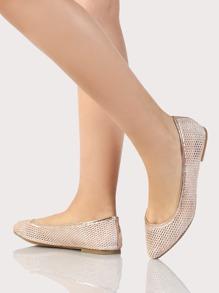 Mesh Ballet Trimmed Flats ROSE GOLD