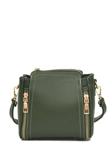 Double Zipper Front PU Shoulder Bag