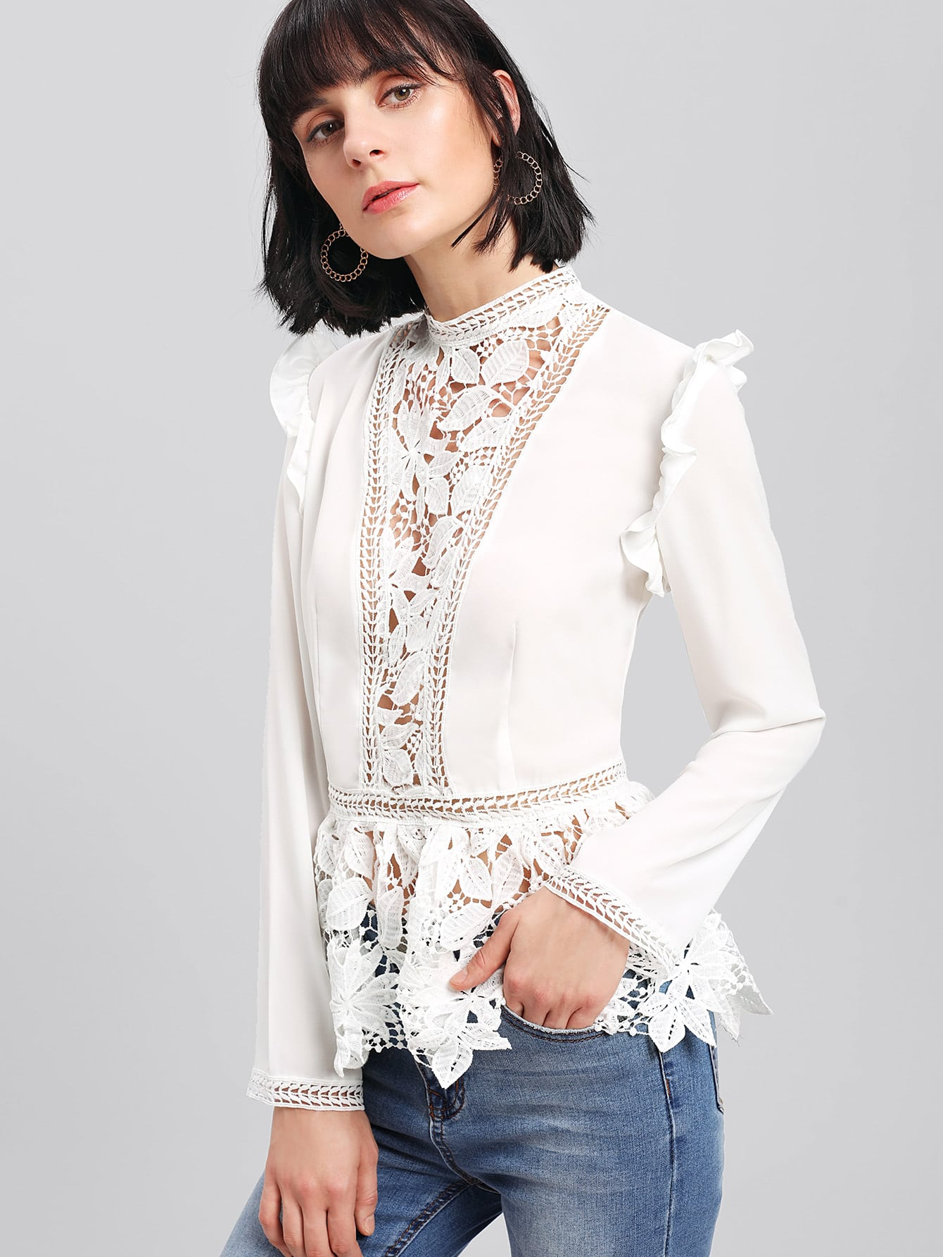 Frilled Shoulder Lace Insert Peplum Top 21067 1411020 11 б у в подольске