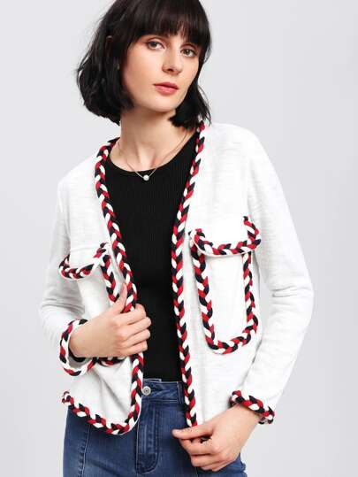 Braided Patched Open Front Jacket