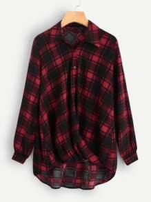 Twist Dip Hem Plaid Shirt