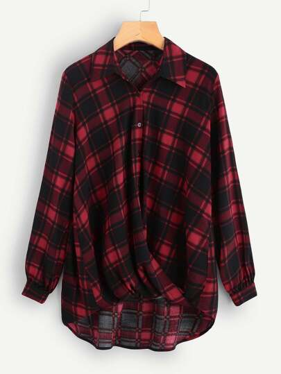 Twist Dip Hem Plaid Shirt
