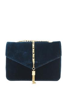 Tassel Decorated Velvet Chain Flap Bag