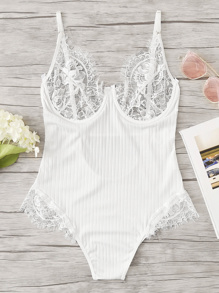 Contrast Lace Teddy