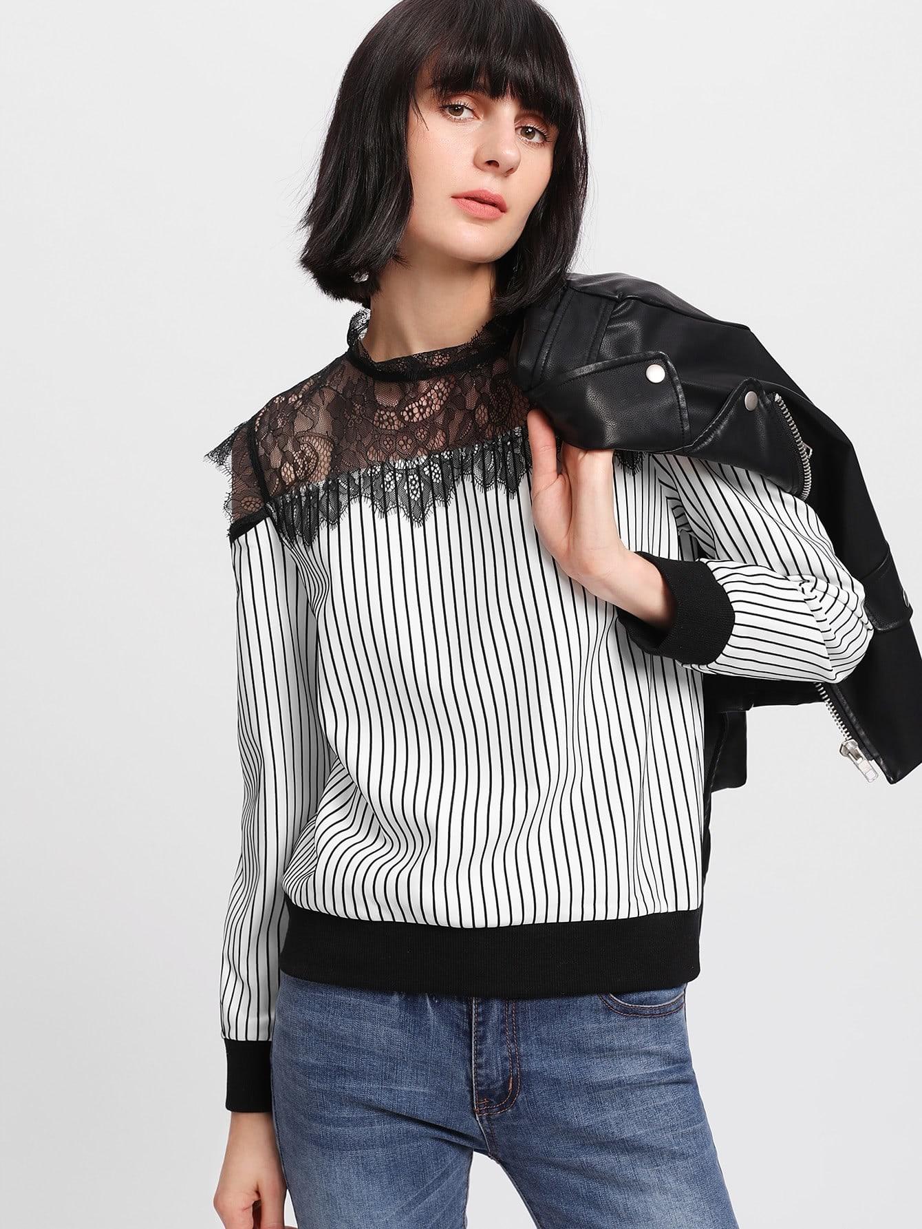 Lace Yoke Open Shoulder Striped Sweatshirt lace panel yoke sweatshirt