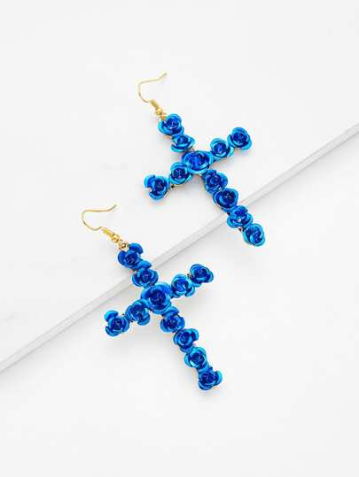 Rose Design Cross Shaped Drop Earrings