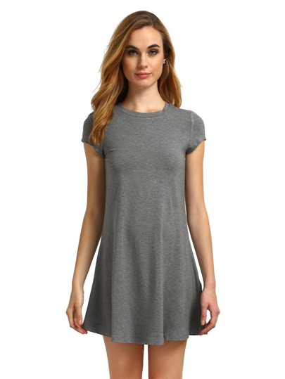 Graues Kurzarmhemd Cut Swing Dress
