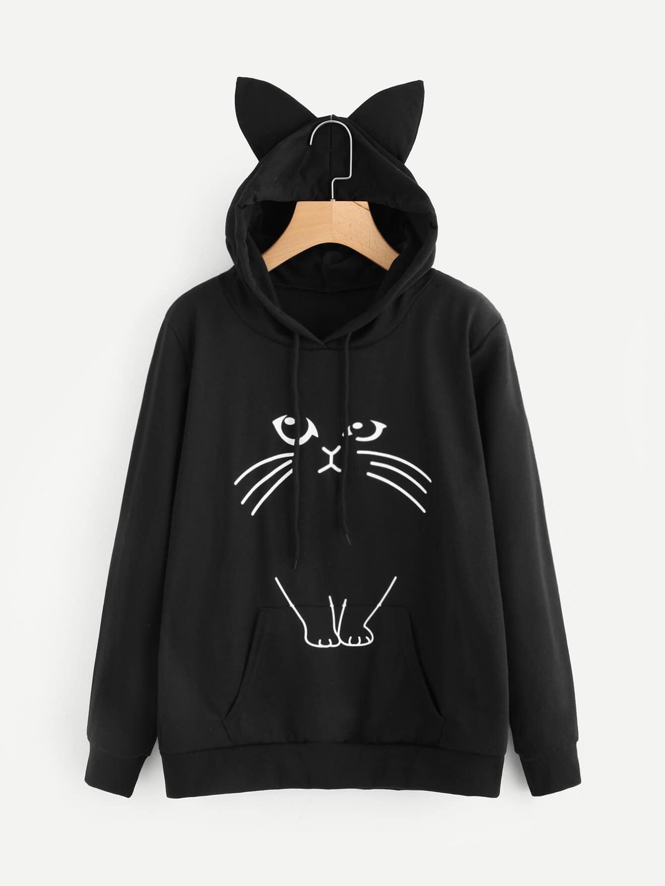 Ear Hooded Graphic Print Sweatshirt