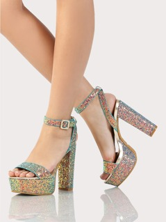 Glitter Single Band Platfom Heels BLUE