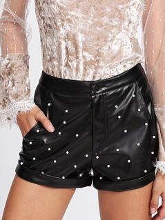 Rolled Hem Pearl Detail PU Shorts