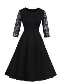 Lace Sleeve Zip Up Back Dress
